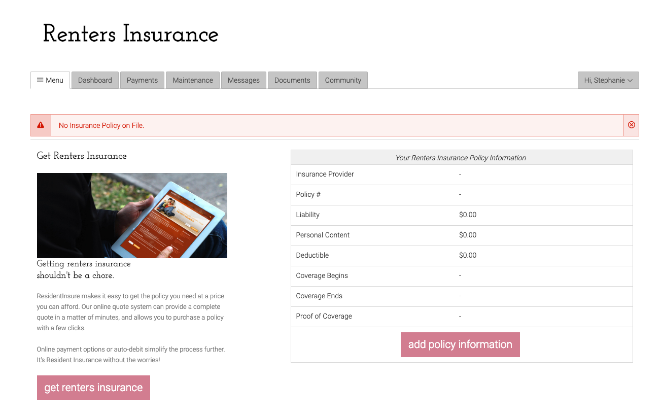Get Renter's Insurance
